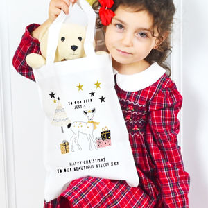 Personalised Christmas Eve Bag Scandi 'Deer'