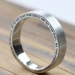 The Halo Personalised Silver Ring - rings