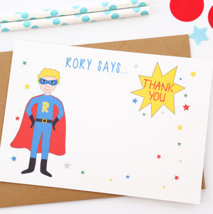 Superhero Personalised Thank You Note Cards
