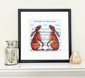 Two Hares On Music Limited Edition Framed Print - limited edition art