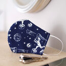 Navy Spaceman Print Fabric Face Mask