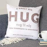 Personalised 'Hug Across The Miles' Locations Cushion - valentine's day