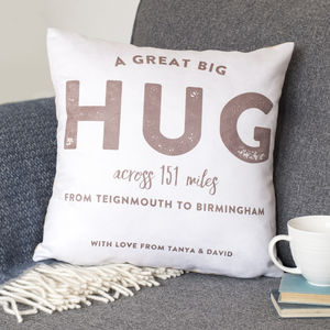 Personalised 'Hug Across The Miles' Locations Cushion - personalised cushions