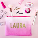 Personalised Pink Ombre Makeup Bag