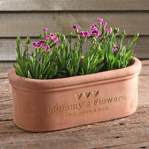 Engraved Message Terracotta Window Box - mother's day gifts