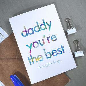 Daddy You're The Best | Personalised Fathers Day Card - sentimental cards