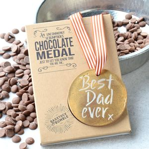 Best Dad Ever Belgian Chocolate Medal - novelty chocolates