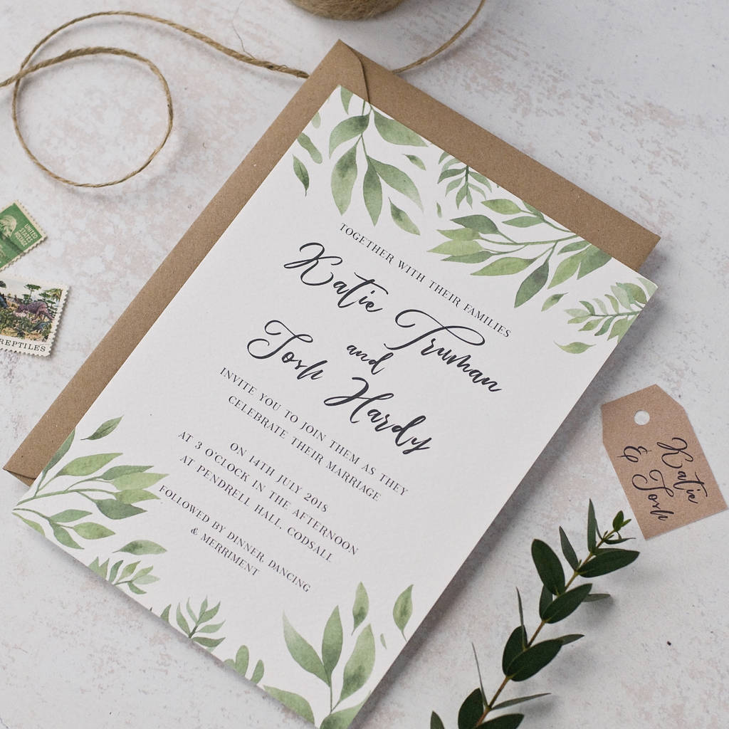 willow watercolour wedding invitation by peach wolfe paper co ...
