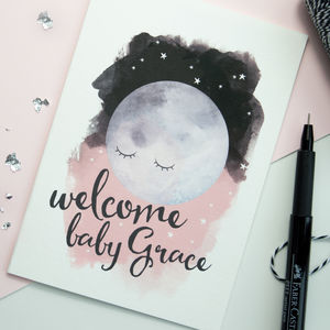 New Baby Personalised Moon Card - christening cards