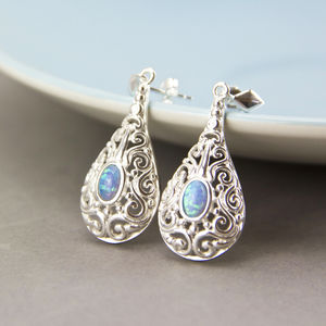 Sterling Silver Ornamental Opal Earrings - earrings