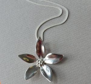 Large Silver Wildflower Pendant