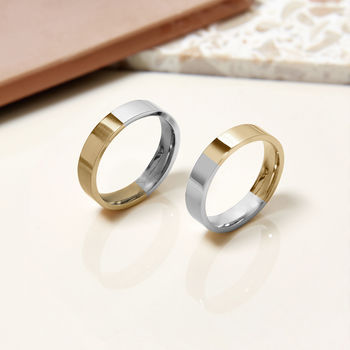 9ct Two Tone Recycled Gold Unisex Wedding Band