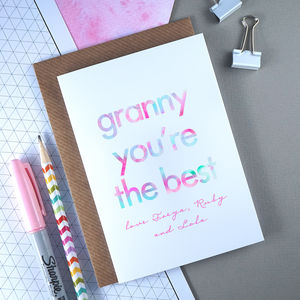 Granny You're The Best | Personalised Birthday Card - birthday cards