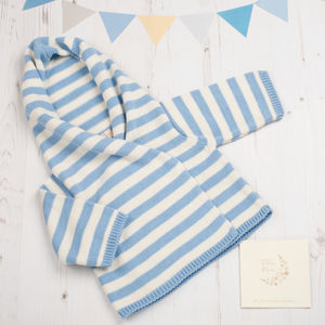 Baby Boys Blue Stripy Hoodie Cardigan - clothing