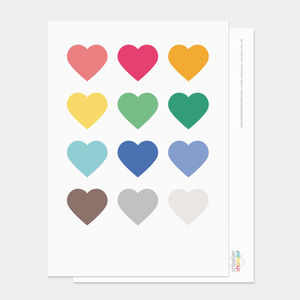 Multi Coloured Hearts Postcard