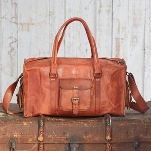 Personalised Large Brown Leather Holdall - weekend bags