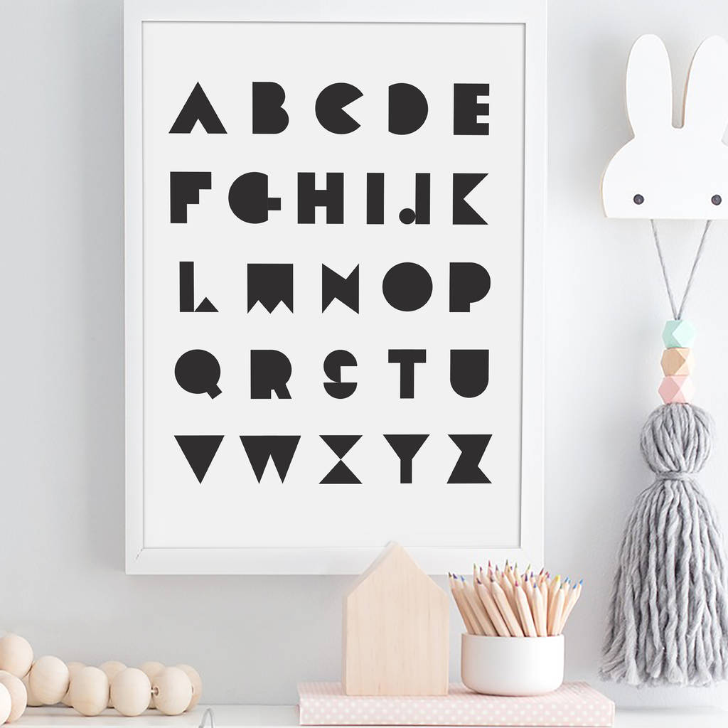 Personalised Alphabet Letters Initial Monochrome Print