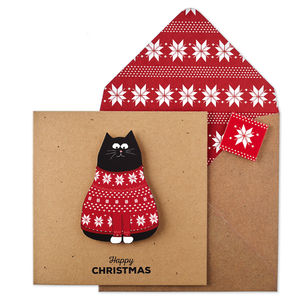 Personalised Christmas Jumper Cat Xmas Card