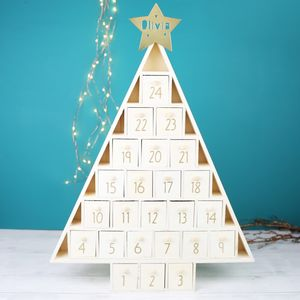 Personalised Wooden Christmas Tree Advent Calendar - advent calendars