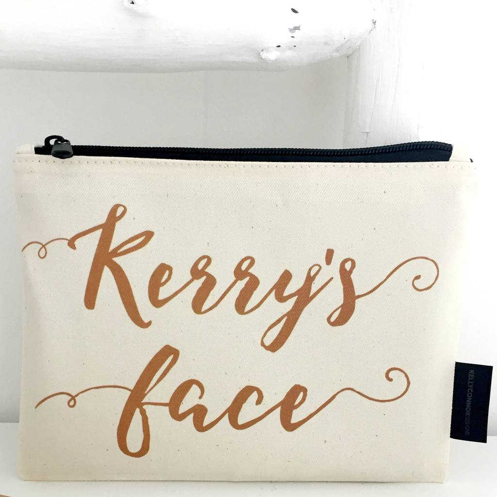 Calligraphy Print, Personalised Make Up Bag