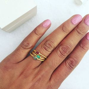 Set Of Three Semi Precious Stacking Rings