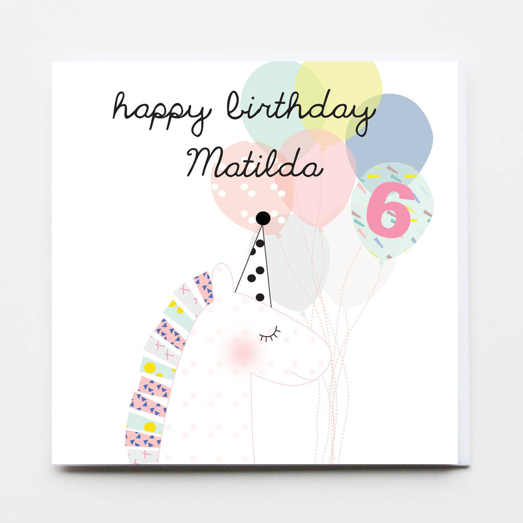 Happy Birthday Girl Unicorn Greeting Card By Buttongirl Designs