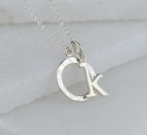 Silver Initial Charm Necklace - gifts for friends