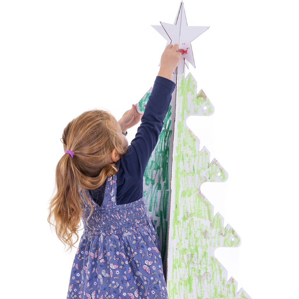 Cardboard Christmas Tree.Kid Eco Cardboard Christmas Tree Five Pack White