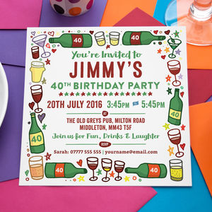 'Wine, Beer And Drinks' Personalised Party Invitations
