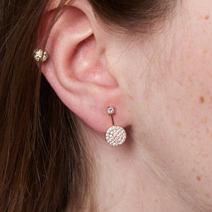 Sterling Silver Circle Drop With Cubic Stud Earrings