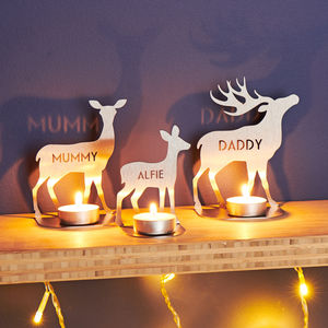 Personalised Metal Family Deer Tea Light Holders - view all new