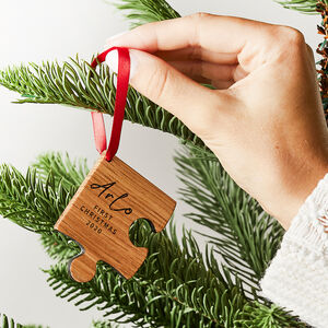 Personalised Wooden Baby First Christmas Decoration