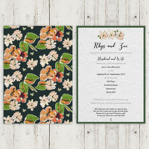 60s Inspired Painted Floral Wedding Invitation Sample - invitations