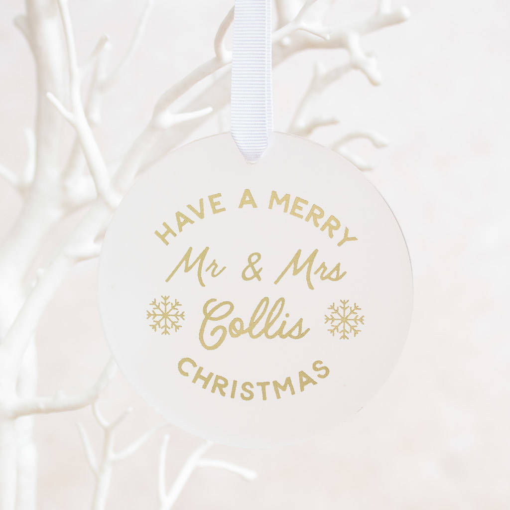Merry Christmas Mr And Mrs Tree Decoration By Nina Thomas Studio