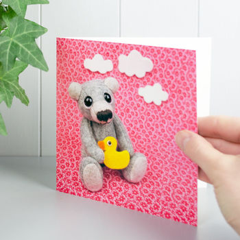 Teddy Bear And Duck Greeting Card