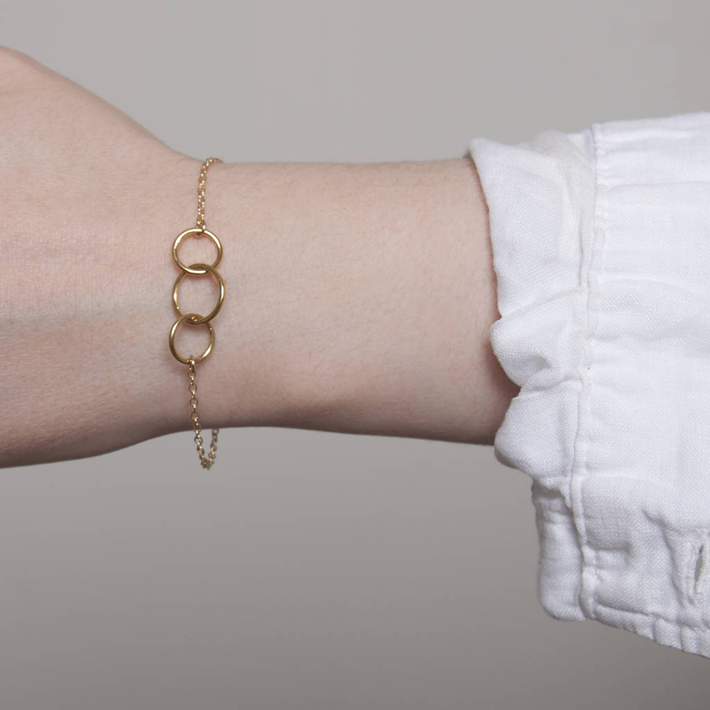 Gold Or Silver Interlocking Circles Bracelet