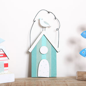 Beach Hut And Seagull Coastal Hanging Decoration