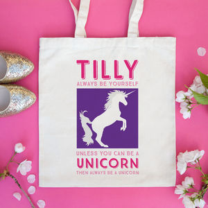 Personalised Unicorn Bag - slogan shoppers