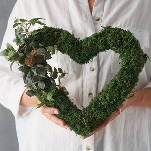 Moss And Eucalyptus Heart Wreath - gifts for her