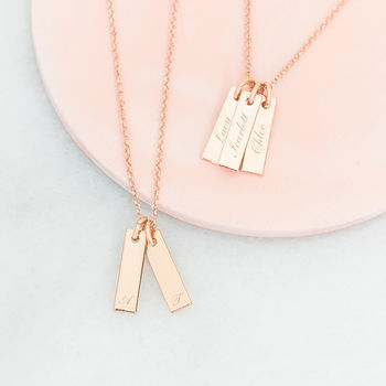 Lola Personalised Rose Gold Bar Necklace