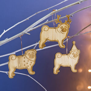 Christmas Pug Bamboo Tree Decoration - tree decorations
