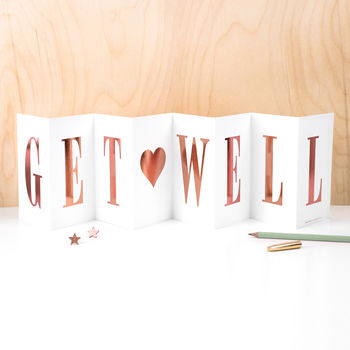 Get Well Foil Concertina Card