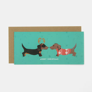 Green Merry Christmas Puppy Greeting Card