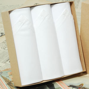 Box Of Three White Cotton Men's Handkerchiefs - handkerchiefs