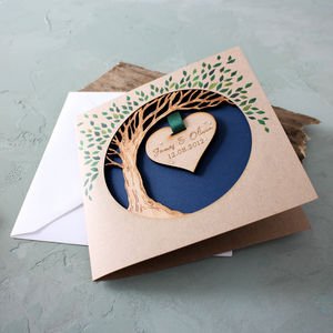 Wooden Anniversary Hanging Heart Tree Keepsake Card - cards & wrap