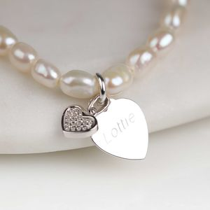 Personalised Children's Pearl Heart Charm Bracelet