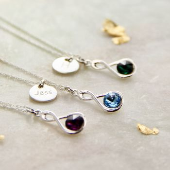 Sterling Silver Infinity Ring Birthstone Necklace