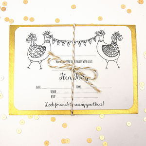 Hen Party Invitations Five Pack - new in wedding styling