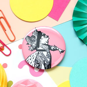 Queen Of Hearts Badge, Keyring Or Pocket Mirror