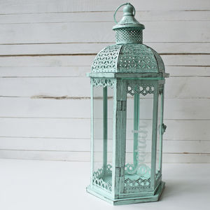 Personalised Extra Large Mint Green Lantern - lighting